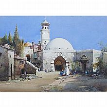 Noel Harry Leaver (1889-1951), MARKET OUTSIDE A MOSQUE, Watercolour; signed lower left, Sight 14