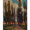 Edith Lucille Howard  (1885-1960), CYPRESSES OF CASIERA, TUSCANY, Oil on canvas; signed lower left, signed at