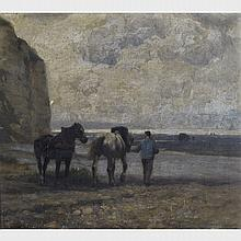William Edward Norton (1843-1916), SEA COAST, DIEPPE, Oil on canvas; signed and dated /86 lower left, signed and titled to artist's label in London, England verso, 18
