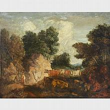 After Thomas Gainsborough (1727-1788), LANDSCAPE WITH CATTLE, Oil on canvas; given the title