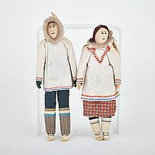 Unidentified, TWO INUIT DOLLS (MAN AND WOMAN WITH CHILD IN AMAUT), fabric, floss, thread, felt, fur, skin, 9.25