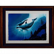 ROBERT WYLAND (AMERICAN, 1956-), MOTHER AND BABY DOLPHIN, WATERCOLOUR; SIGNED AND DATED 1991 LOWER RIGHT - WITH A BOOK