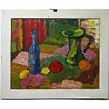 WADIE EL MAHDY (CANADIAN, 1921-2001), STILL LIFE STUDY, OIL ON CANVAS; SIGNED LOWER RIGHT - UNFRAMED, MATTED ONLY., 15.3