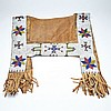 North American Sioux Indian Saddle Blanket and Pouch, late 19th/early 20th century, largest 25