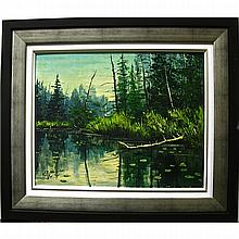 G. PIFFE (CANADIAN, 20TH CENTURY), LILY POND, OIL ON CANVAS BOARD; SIGNED LOWER LEFT, 16