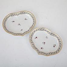 Pair of Derby Kidney Shaped Dishes, c.1800, length 10.1