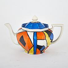 Clarice Cliff 'Bizzare' Teapot, c.1930, height 6.5