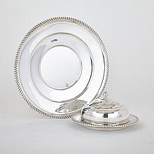 Canadian Silver Covered Butter Dish and a Cake Plate, Henry Birks & Sons, Montreal, Que., 1957/59, plate diameter 10