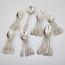 George IV, Victorian and Later Silver Fiddle, Thread and Shell Pattern Flatware, 19th/20th century (24 Pieces)
