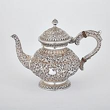 Indian Silver Teapot, late 19th century, height 7