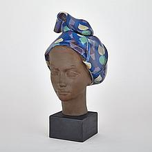 Royal Copenhagen Aluminia Faience Bust of a Woman, Johannes Hedegaard, c.1960, height 16.3