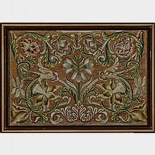 Floral Scrolling Needlework Panel, late 17th/early 18th century, 22