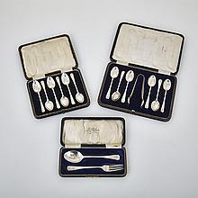 Two Sets of Six English Silver Coffee Spoons, One with Sugar Tongs and a Child's Spoon and Fork, 20th century (15 Pieces)