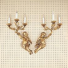 Pair of Florentine Carved Gilt wood and Iron Figural Three Light Wall Sconces, mid 20th century, height 21