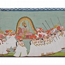 Udaipur School, MAHARANA SARUP SINGH CARRIED BY HIS ENTOURAGE, 19TH CENTURY