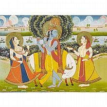 Rajasthan School, KRISHNA AND GOPIS WITH SACRED COW, CIRCA 1800