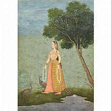 Deccan School, GOLCONDA BEAUTY WITH PEACOCKS, FIRST HALF 18TH CENTURY