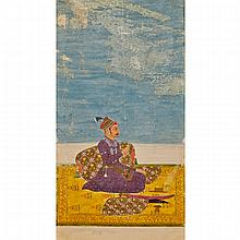 Punjab Hills School, A PRINCE SEATED ON A YELLOW CARPET, 18TH CENTURY