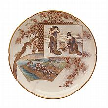Finely Painted Satsuma Shallow Bowl, Signed Kinkozan, Late 19th Century