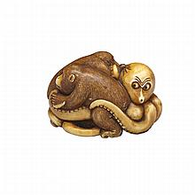 Ivory Netsuke of an Octopus and Two Monkeys, 19th Century