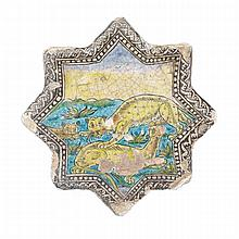 Polychromed Safavid-Style Pottery  Star Tile, Persia/Qajar, Late 19th Century