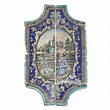 Large Eight-Piece Pottery Wall Plaque, Qajar, Late 19th Century