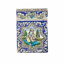 Pair of Polychromed Architectural Pottery Tiles, Persia/Qajar, Late 19th Century