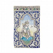 Large Polychromed Pottery Wall Tile, Persia/Qajar, Late 19th Century