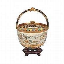 Miniature Satsuma Basket-Form Censer, Signed, Late 19th Century