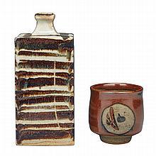 Attributed to Shoji Hamada (1894-1978), SQUARE BOTTLE VASE, TOKKURI