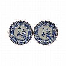 Pair of Blue and White Imari Dishes, Edo Period, 19th Century