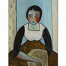 FLORENCE GERTRUDE VALE, SEATED GIRL, oil on canvas board, 20 ins x 15.25 ins; 50.8 cms x 38.7 cms