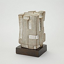 JACK BEDER, SYMMETRICAL FIGURE, limestone, height 9 ins; 22.9 cms