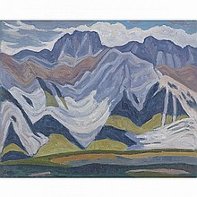 JACK BEDER, MIETTE RANGE, CANADIAN ROCKIES, J.N.P., 1969, oil on canvas board, 16 ins x 20 ins; 40.6 cms x 50.8 cms