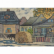 MARC-AURELE FORTIN, A.R.C.A., VILLAGE LANDSCAPE WITH HAYCART, STE-ROSE, oil on cardboard, 9 ins x 12.25 ins; 22.9 cms x 31.1 cms