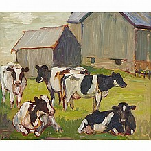 KATHLEEN MOIR MORRIS, A.R.C.A., DAIRY COWS AT PASTURE, ELLIOTT FAMILY FARM NEAR MARSHALL'S BAY, ONTARIO, oil on panel, 12 ins x 14 ins; 30.5 cms x 35.6 cms