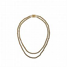 14k Yellow Gold Double Rope Chain, with a 14k yellow gold clasp set with 8 small full cut rubies