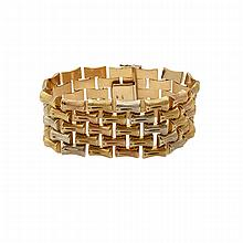 Italian 18k Three Colour Gold Bracelet, formed in a bamboo motif