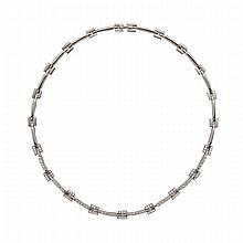 Italian 18k White Gold Necklace, set with 103 small brilliant cut diamonds