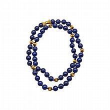 Single Strand Lapis Bead Necklace, (12.0mm) completed with a 14k yellow gold clasp and spacers
