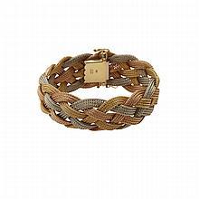 Italian 18k Three Colour Gold Braided Bracelet