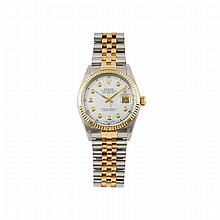 Rolex Oyster Perpetual Datejust Wristwatch, circa 1986; reference #16013; case #9049329; movement #1361956; 27 jewel cal.3075 automatic wind movement adjusted to temperature and 5 positions; mother-of-pearl dial with 10 small single cut diamond hour