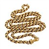 19th Century 14k And 18k Yellow Gold Circular Link Chain, each link with engraved decoration and completed with a