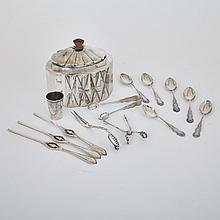 Quantity of Silver, including Continental Sugar Box, c.1900 and Two Danish Serving Utensils, Georg Jensen, Copenhagen, 20th century, width 5.5