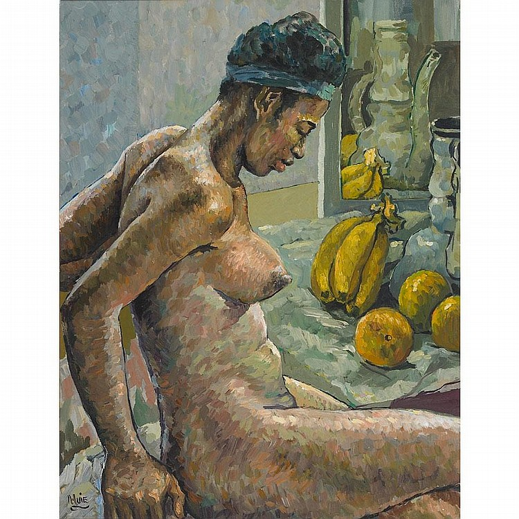Albert Huie (1920-?), NUDE WITH BANANAS, Oil on canvasboard; signed lower left, 22