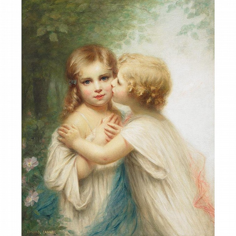 Edouard Cabane (1857- ), A TENDER KISS, Oil on canvas; signed lower left, 28.5