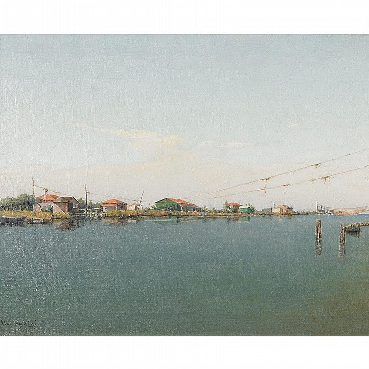 Memo Vagaggini (1892-1955), CALM WATERS, Oil on canvas; signed lower left, titled indistinctly in Italian to artist label verso, 15.75