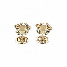 Pair Of Tiffany & Co German 18k Yellow Gold Cufflinks, formed as frogs and set with small emerald cabochon eyes