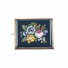 Fine Rectangular Micro-Mosaic Panel, depicting a floral still-life, in a 14k yellow gold brooch mount
