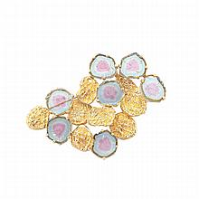 14k Yellow Gold Abstract Brooch, set with 7 slices of watermelon tourmaline
